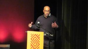 Gayles at the Schomburg During Black Comic Book Academic Panel