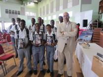 With secondary school boys in Barbados